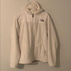 North Face white fuzzy jacket!!